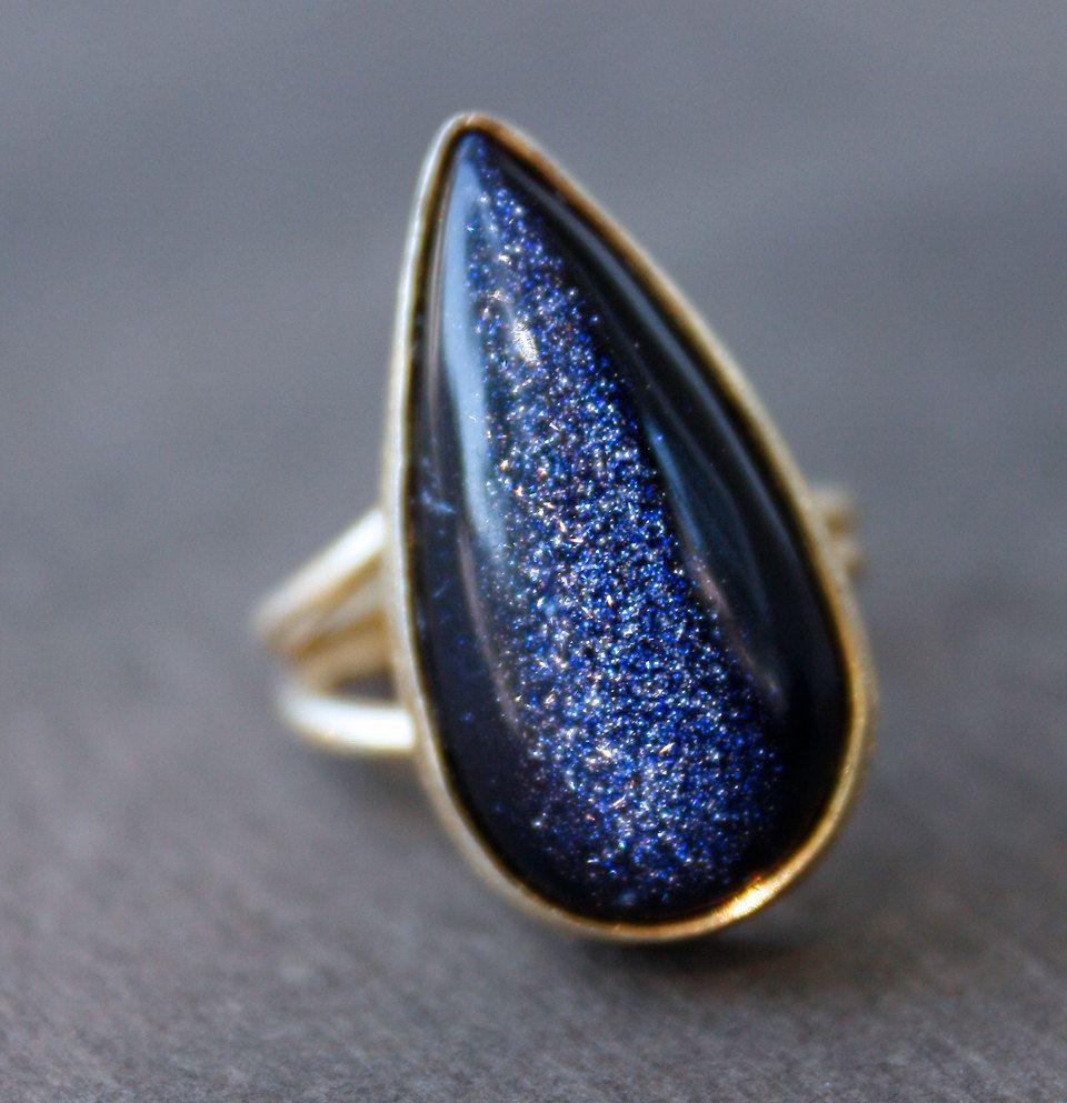 Midnight Blue Sunstone Ring Teardrop Navy Starry Night Via Etsy
