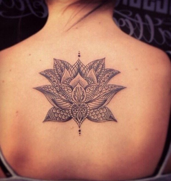 35 Stunning Lotus Flower Tattoo Design: Lovely Back Lotus Tattoo, New Flower Tattoos August 2016