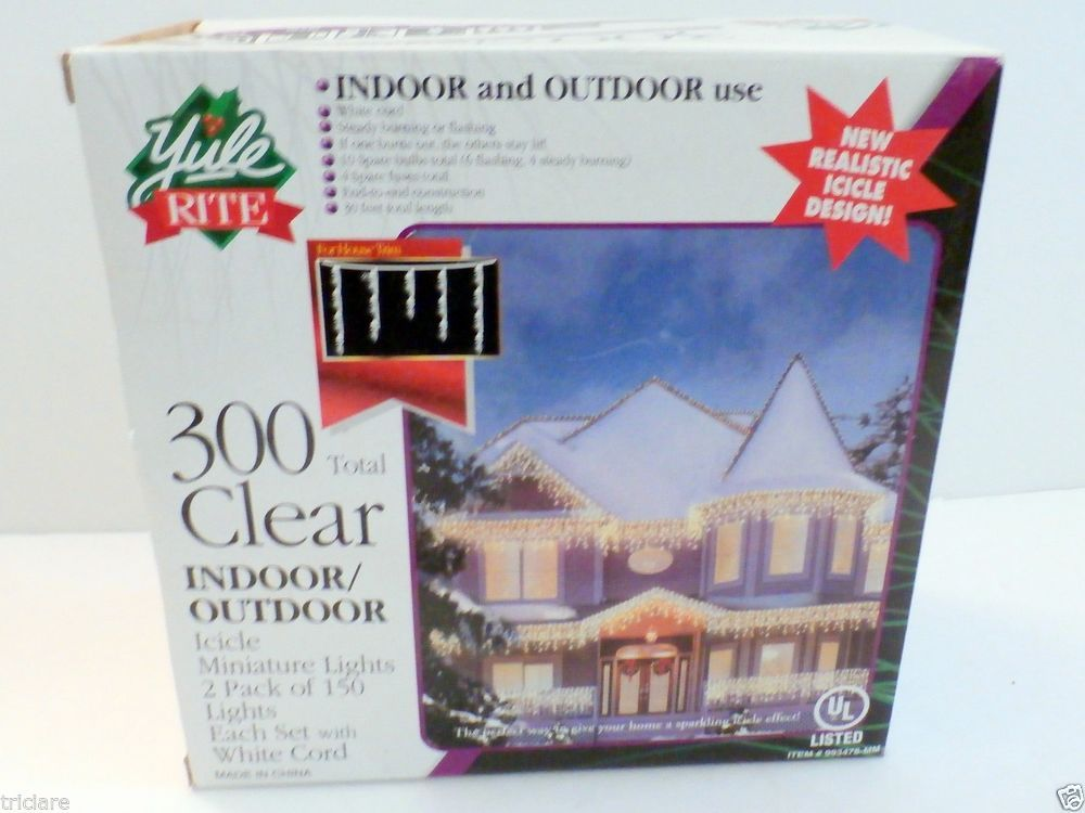 Yule Rite 300 count clear Icicle Lights White Wire Christmas Wedding NIB  Icicle Lights, Christmas - Yule Rite 300 Count Clear Icicle Lights White Wire Christmas Wedding
