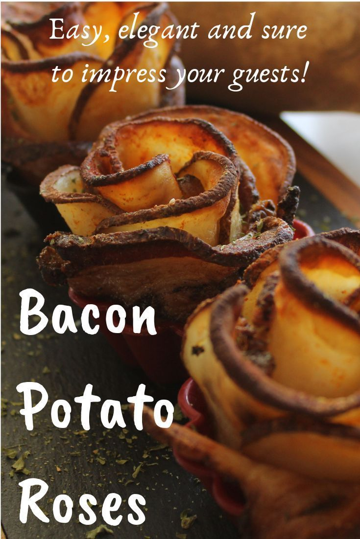 These elegant potato bacon roses are really easy. Simply roll the potato slices with a piece of bac