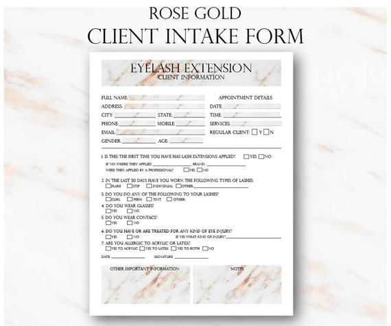 Rose Gold Eyelash Extensions Technician Forms, Printable Client Form, Cosmetologist Forms, Beautician Planner