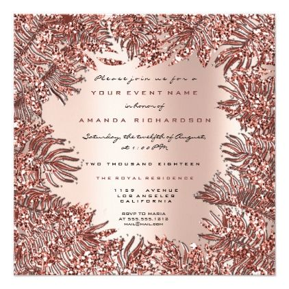 Tropical Fern Leafs Framed Rose Gold Pink Metallic Invitation