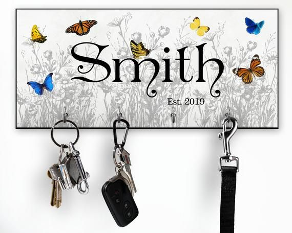 Personalized Key Holder for Wall, Modern Victorian Butterfly Wall Decor #modernvictoriandecor