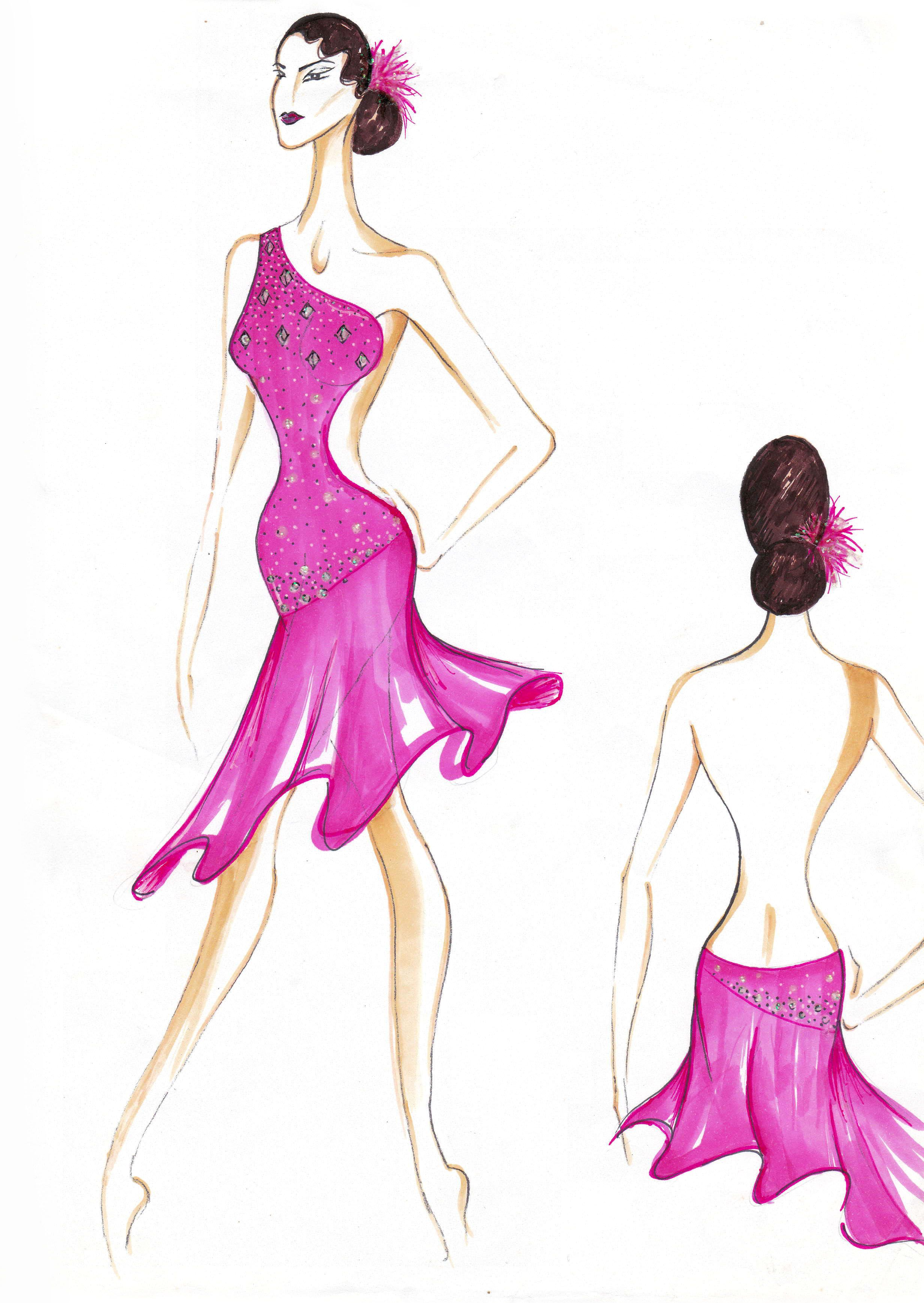 Pin by Suzanne Lim on Latin & Ballroom Costume Illustration in 2019 ...