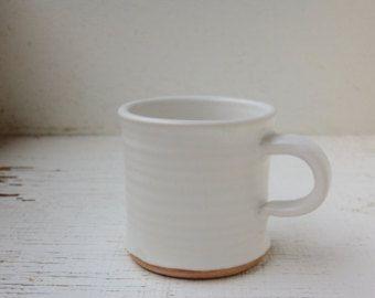 Coffee Mug 10 Oz Tea Cup Handmade Ceramics And Pottery Mug In Satin White Pottery Mugs Handmade Ceramics Mugs