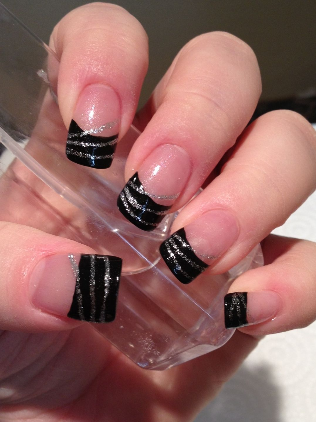 Black French Tips With Silver Streaks By Natalie Wolfe Nail Tip