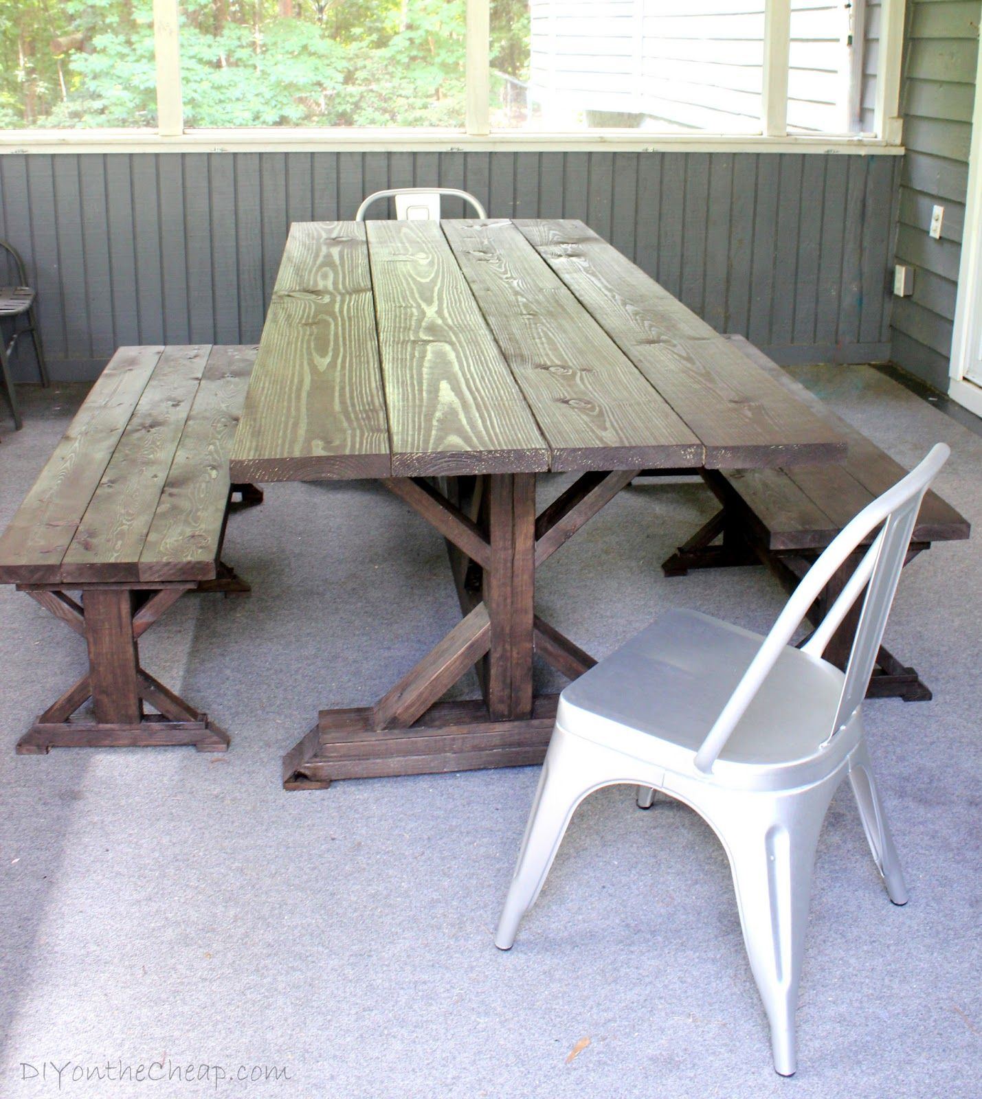 diy outdoor farmhouse table. Anthro-Inspired Outdoor Farmhouse Table \u0026 Benches - DIY On The Cheap Diy