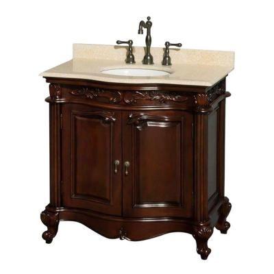 Bathroom Sinks Edinburgh wyndham collection edinburgh 36 in. vanity in cherry with marble