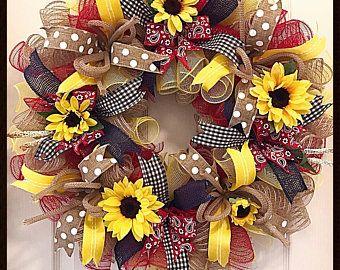 Sunflower Blue, Burlap and Yellow Deco Mesh Wreath