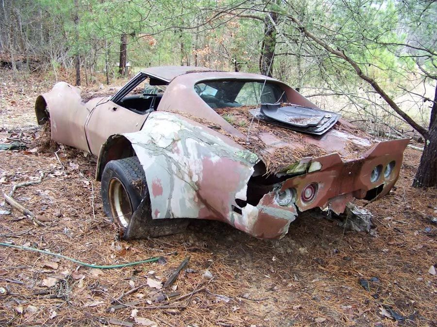 Barn Find Flared C3 Corvette Put Out To Pasture Barn Find Cars Barn Finds Abandoned Cars