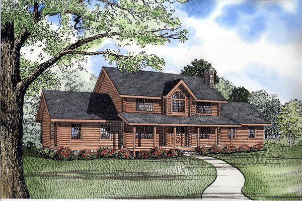 Log Style House Plan 61118 With 5 Bed 4 Bath 2 Car Garage Log Home Plans Farmhouse Style House Plans Country Style House Plans