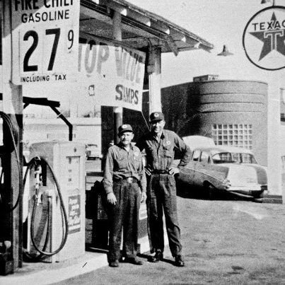 Late 1950 S In Dallas Texas Look At The Price Of That Gas Full Service Gas Station Texaco Gas Station