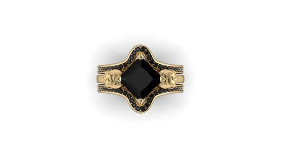 RIDDLE  Matching Contour Wedding Band for my RIDDLE Skulls & Snakes Ring, set with Black Diamonds   Gallery