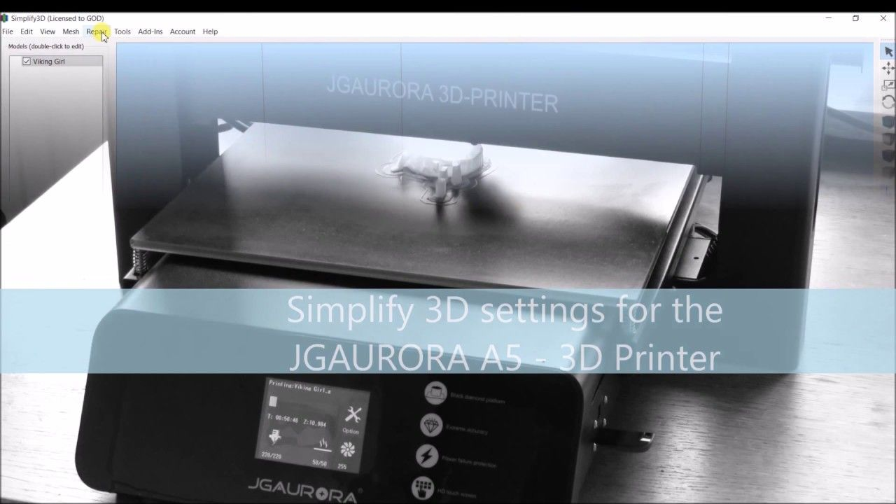Simplify3D settings for the JGAURORA A5 💙 3D printer | 3D