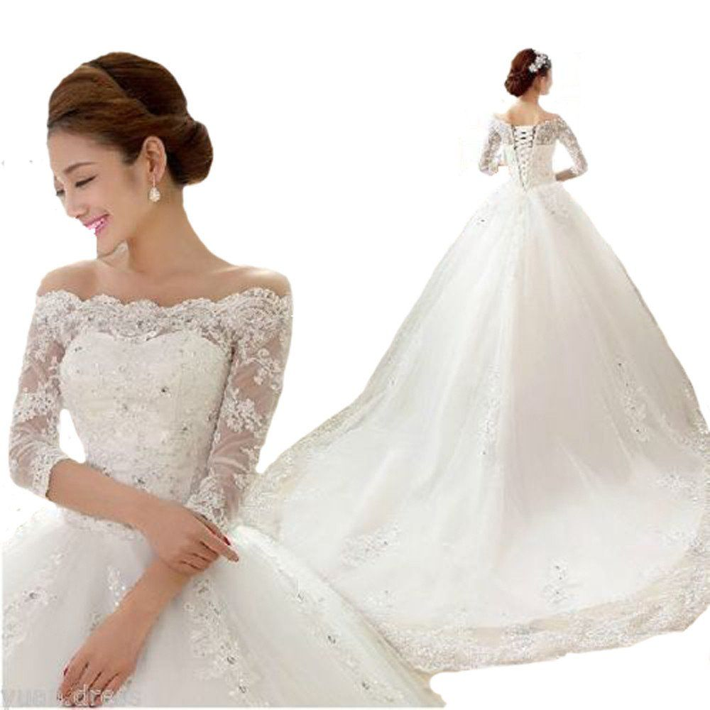 Queenbridal off shoulder bridal gowns half sleeve lace ball wedding