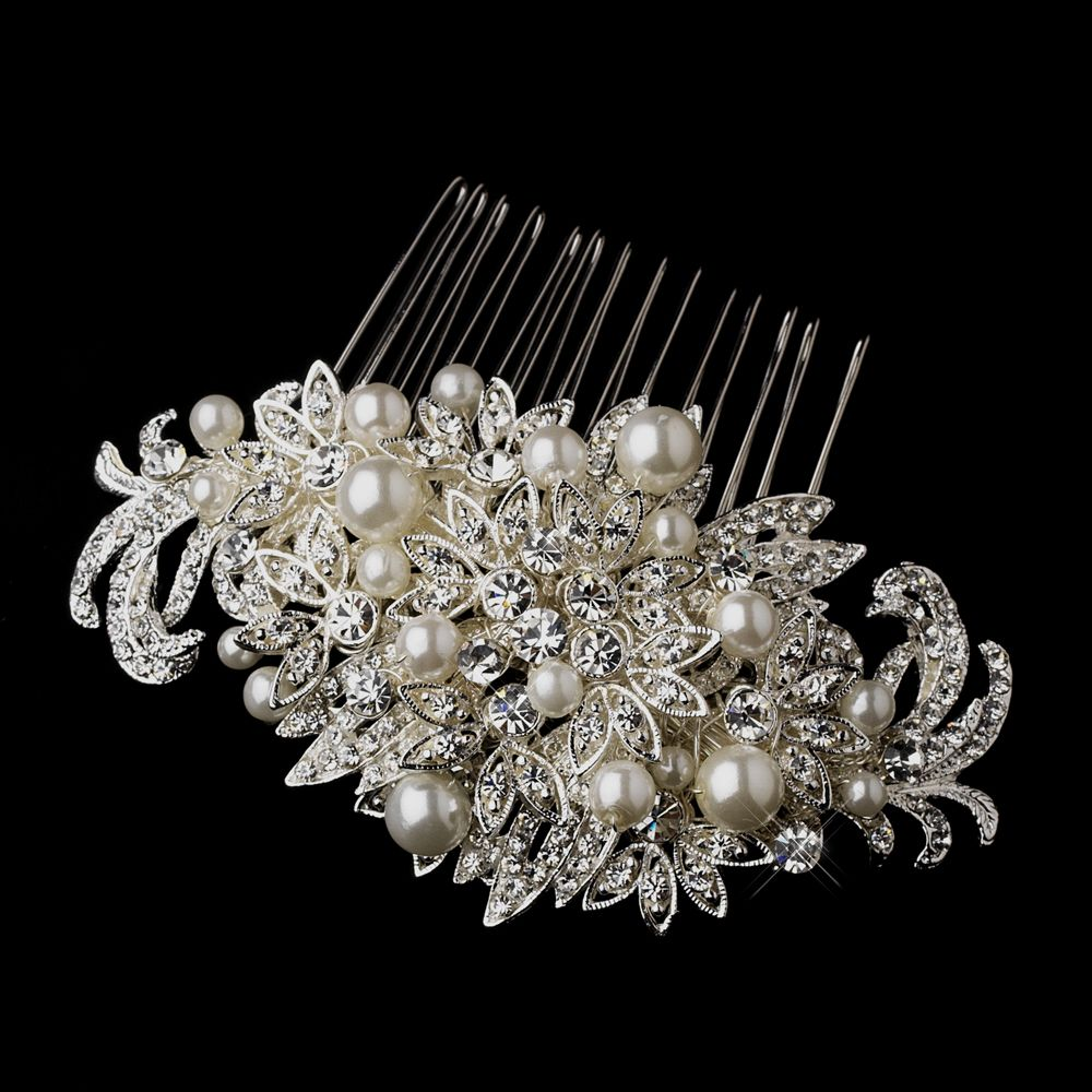 silver crystal & pearl vintage wedding hair comb