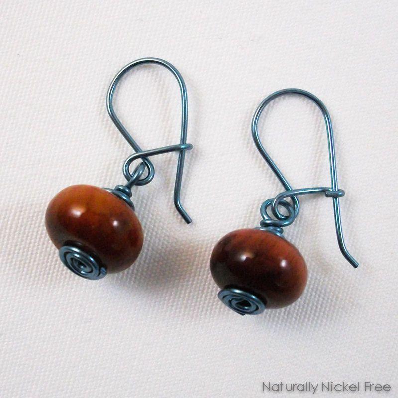 eb620adc8 Tiger Eye Niobium Loop n Latch Drop Earrings, in Blue by Naturally Nickel  Free Jewelry For Sensitive Skin