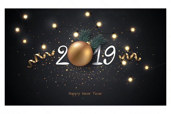 Happy #New Year #2019 - #Illustrations Illustrations Templates
