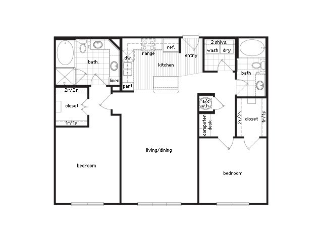 2 Bedroom / 2 Bath / 906 Sq Ft