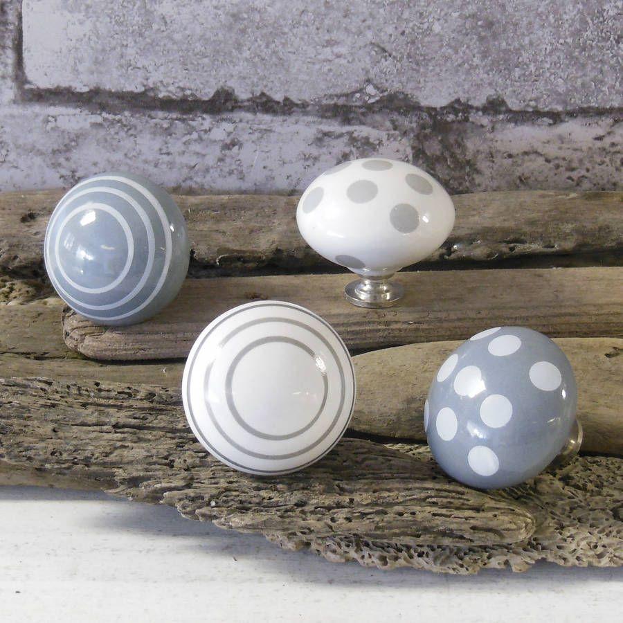 grey spots and stripes ceramic door knobs by pushka knobs ...