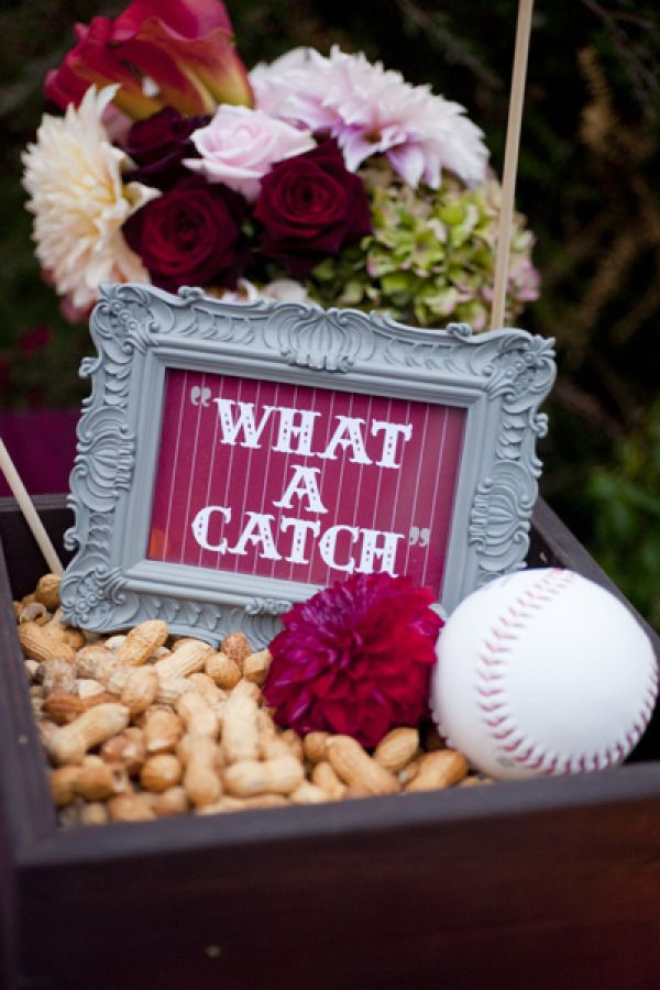 """What A Catch"" - baseball theme might be odd, but peanuts on the tables? Yes, please! Watch out for allergies"