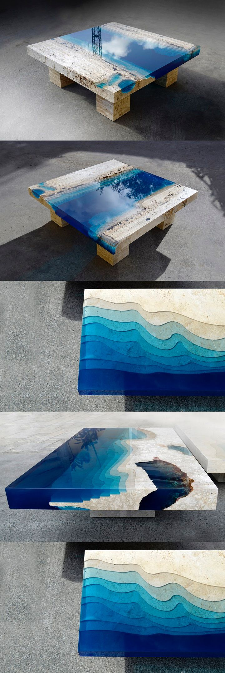 New Marble And Resin Coffee Table Captures The Soothing Beauty Of