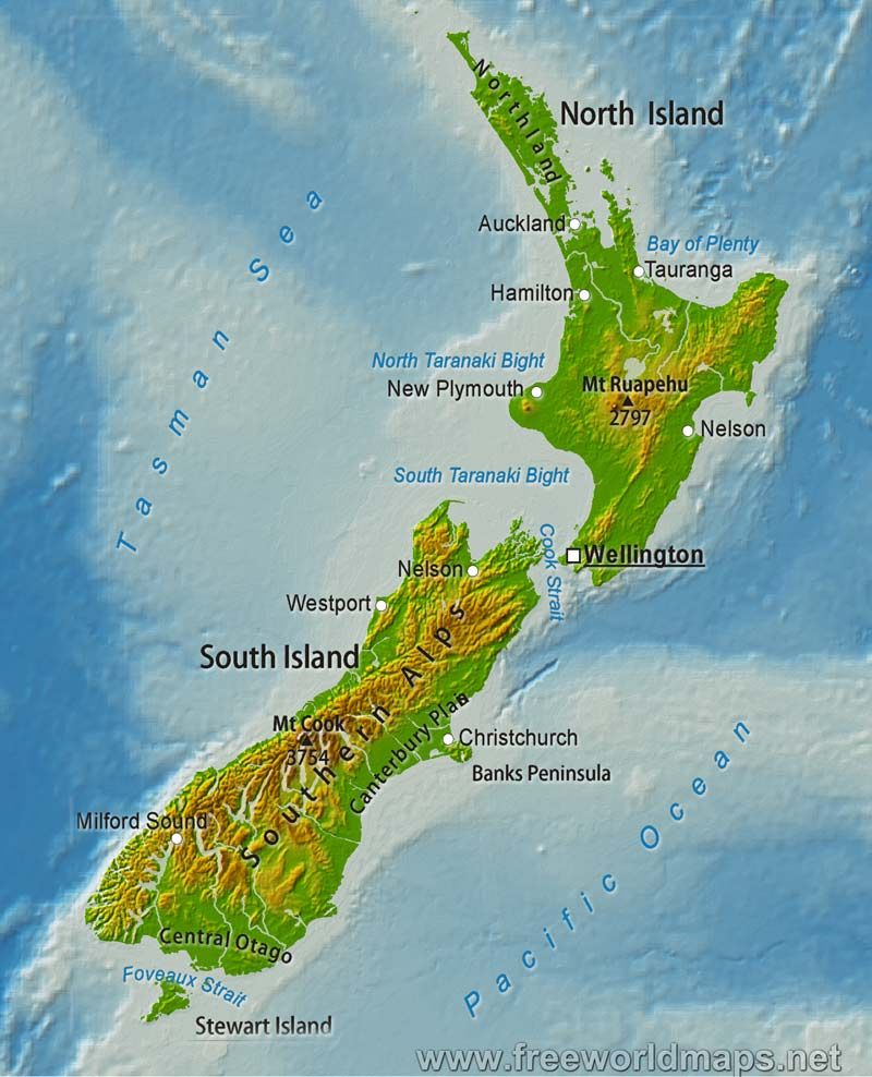 New Zealand Must See Map.Images Of New Zealand Detailed Relief Map Of New Zealand New