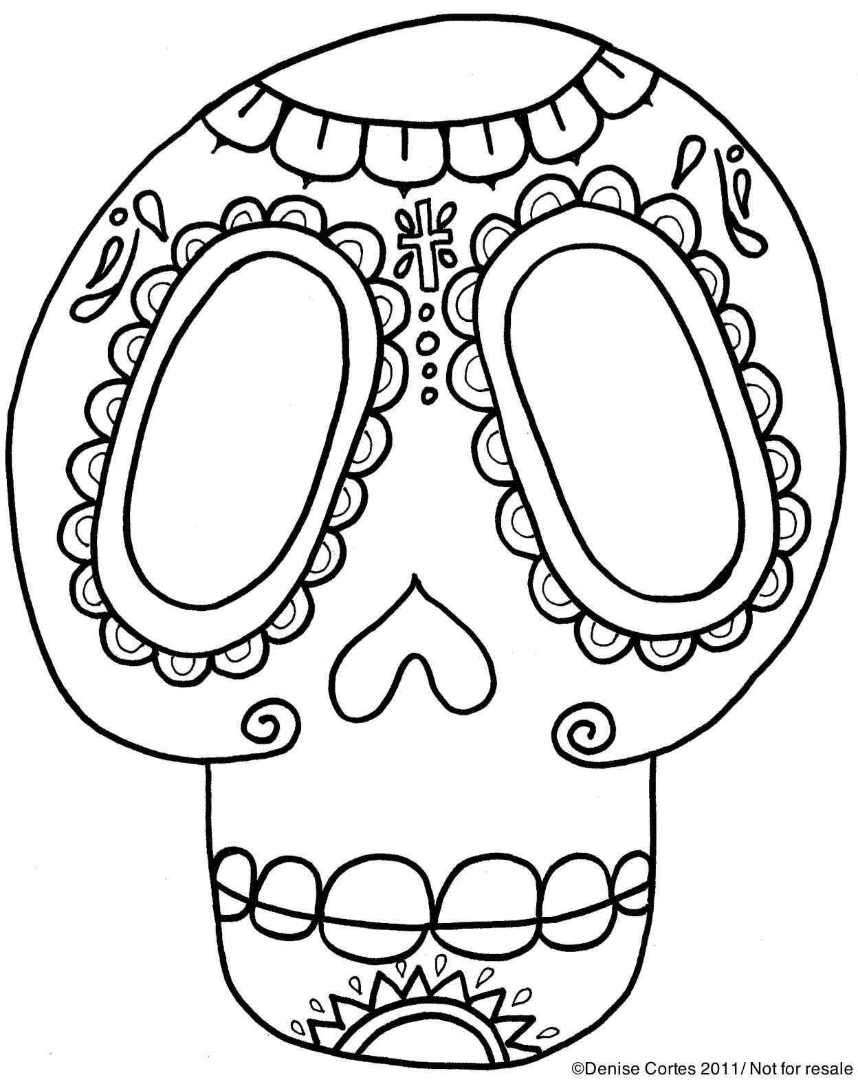 Dia De Los Muertos Skull Stencil This Would Be Great To Use In
