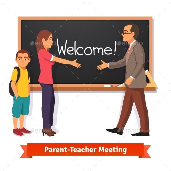 Teacher And Parent Meeting In Classroom Parents As - Online Meeting Classroom