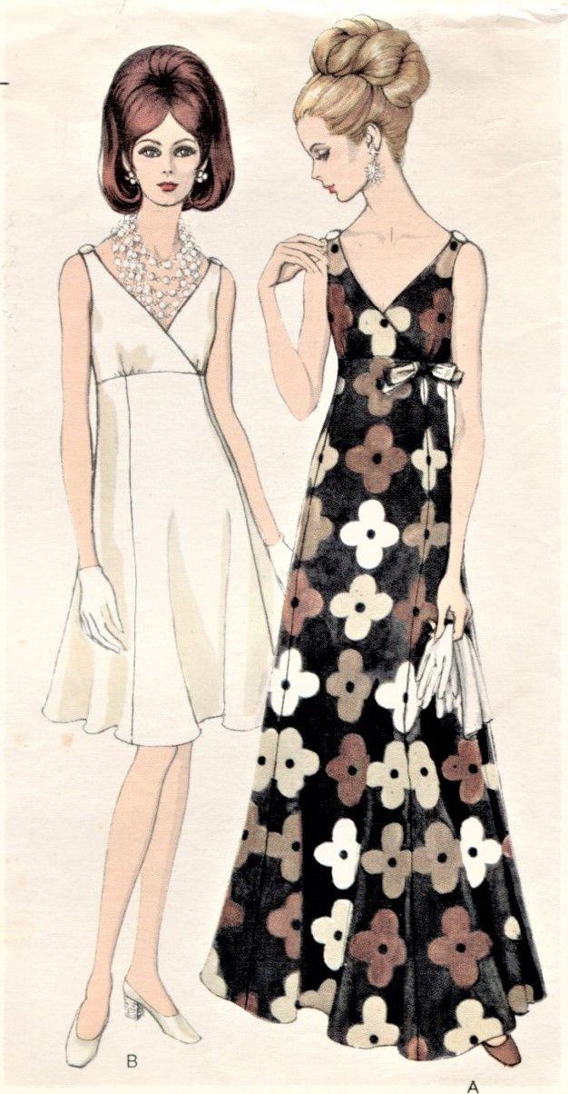 71c8cfbe865 1960s ELEGANT Evening Gown Cocktail Party Dress Pattern VOGUE 7477 Figure  Flattering Surplice Bodice Low V Neckline High Waisted Dress Size 10  Vintage ...