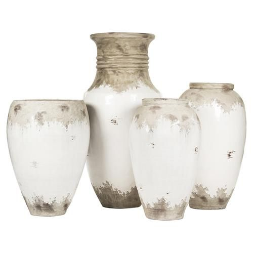 Siena White Rustic Distressed White Ceramic Floor Vase 31 Inch In