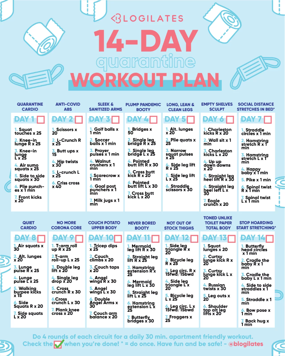 14-Day Quarantine Workout Plan – Blogilates