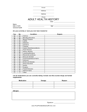 photograph about Printable Medical Office Forms identify This Grownup Health and fitness Historical past Type is informative in the direction of assemble fitness