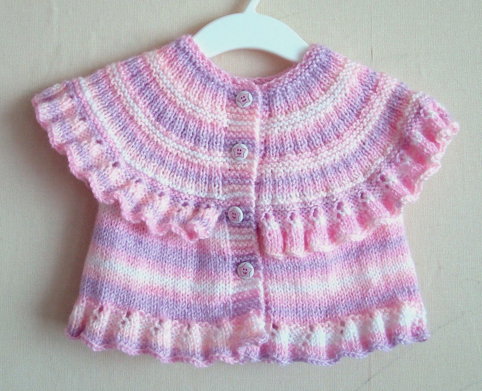 Ruffled Round Yoke Baby Vest for 6-12 months girl (worked top down ...