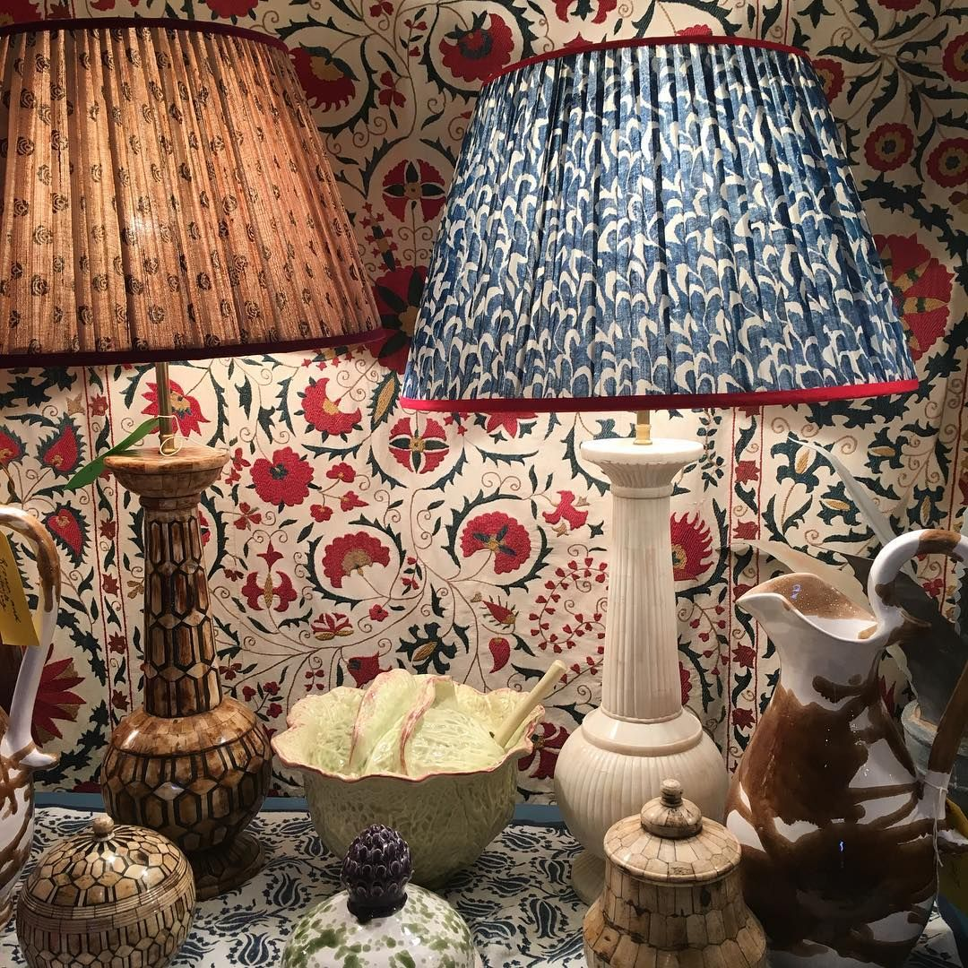 Charming patterned fabric lamp shades from carolina irving penny charming patterned fabric lamp shades from carolina irving penny morrison aloadofball Choice Image