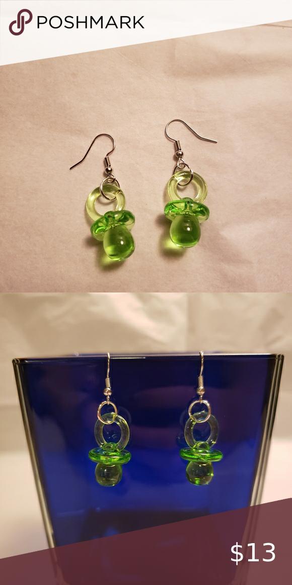 Pacifier Jewelry Light Green Pacifier Earrings Earrings Dangling Earrings