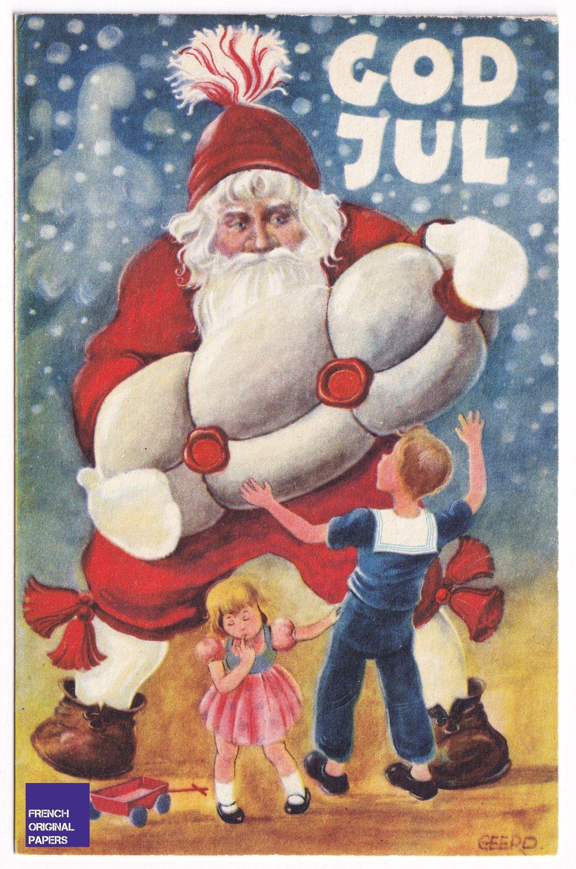 Joyeux Noel 1960s Jolie Carte Postale Suede Illustrateur Geerd Santa Claus Neige Cadeau Hiver Graphisme Scandinave Pere Jouet Sapin En 2020 Jolies Cartes Carte Postale Joyeux Noel