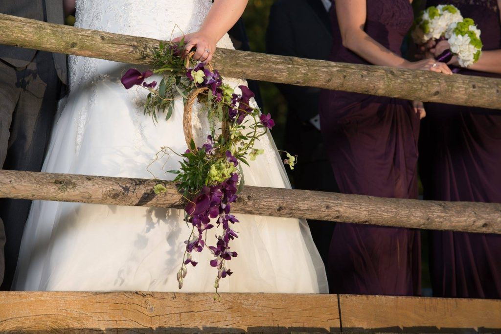 Purple and green bridal hoop by Beautiful Blooms by Jen, using the Grandmother's hoop.