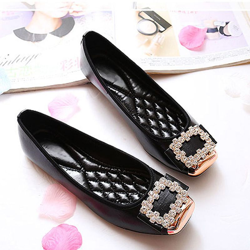 Elegant Square Rhinestone Soft Leather Women Flats Brand Shoes Woman Boat  Shoes Casual Ladies Flats Plus Size 42 Free Shipping f47432183f37