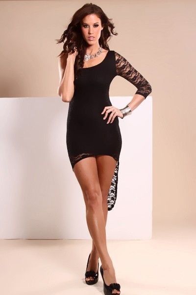 A stylish mini dress with a floral lace overlay, an asymmetrical cut, one 3/4 sleeve, a stretchy fit, and high low hem. 100% Polyester