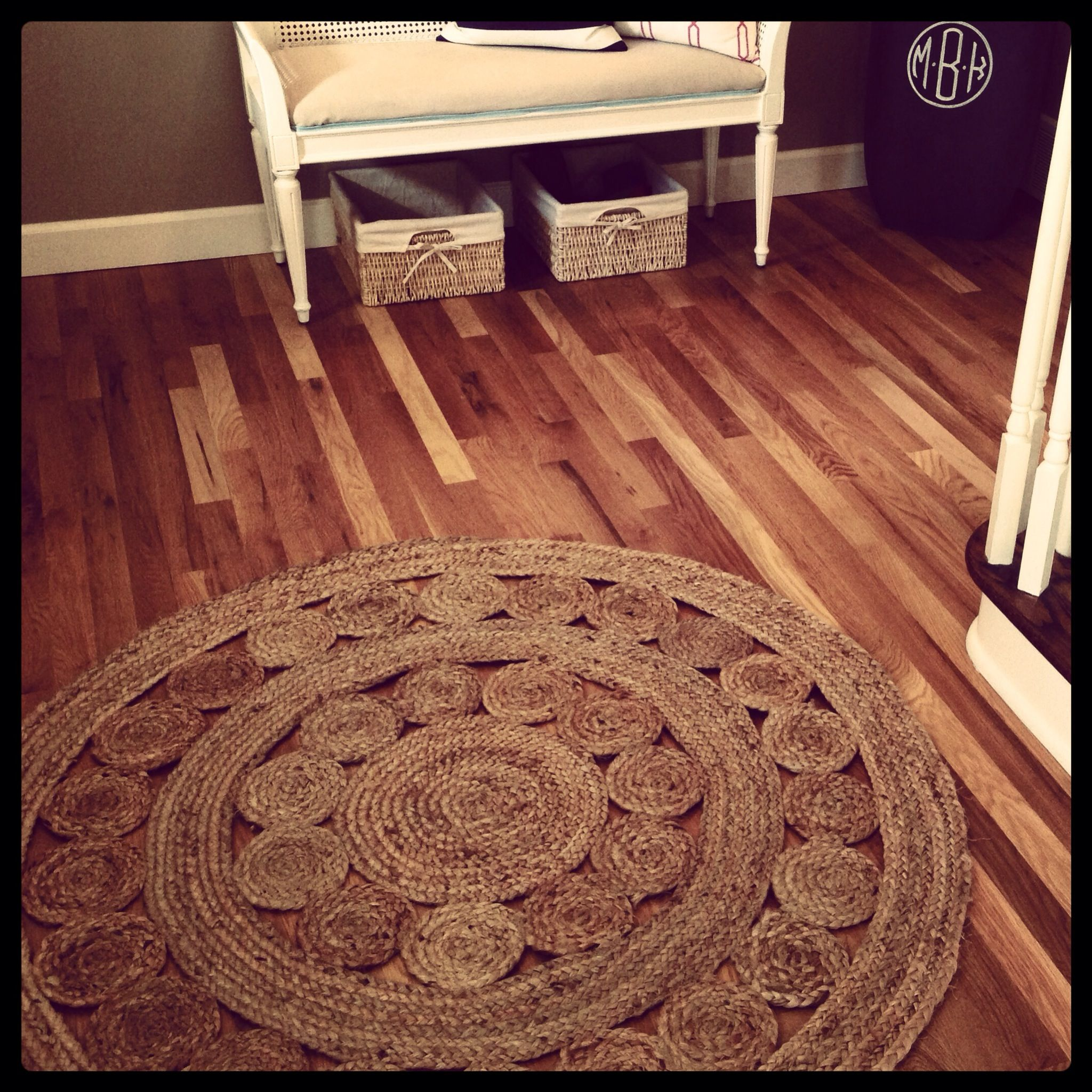 Round Jute Rug Monogram Planter Entry Bishop Interiors