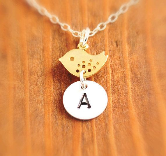 Hand Stamped Bird Necklace - initial necklace, mother necklace, personalized jewelry, gold bird necklace, mom necklace