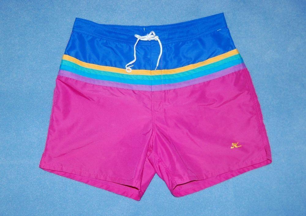 180f3f648a Vintage Hobie Board Shorts Swim Trunks Men's Size 36 Bright Rainbow Swimsuit
