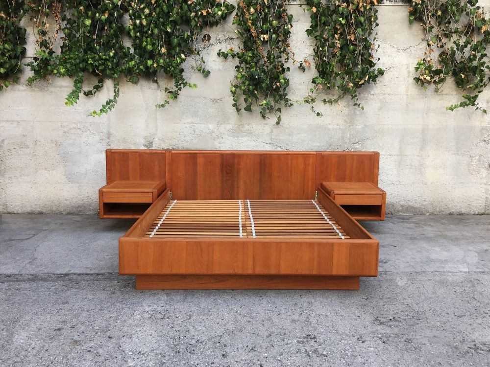 Mid Century Modern Danish Queen Platform Bed with Floating