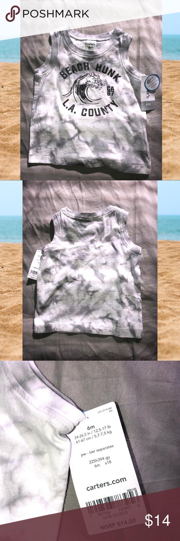 "NWT Carter's Beach Hunk Tie-Dye Tank ""Beach Hunk"" Gray And"
