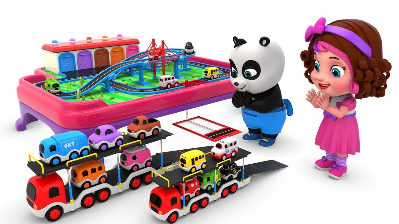 Pinky And Panda Play With Toy Garage And Cars Toy Garage Pandas Playing Toys
