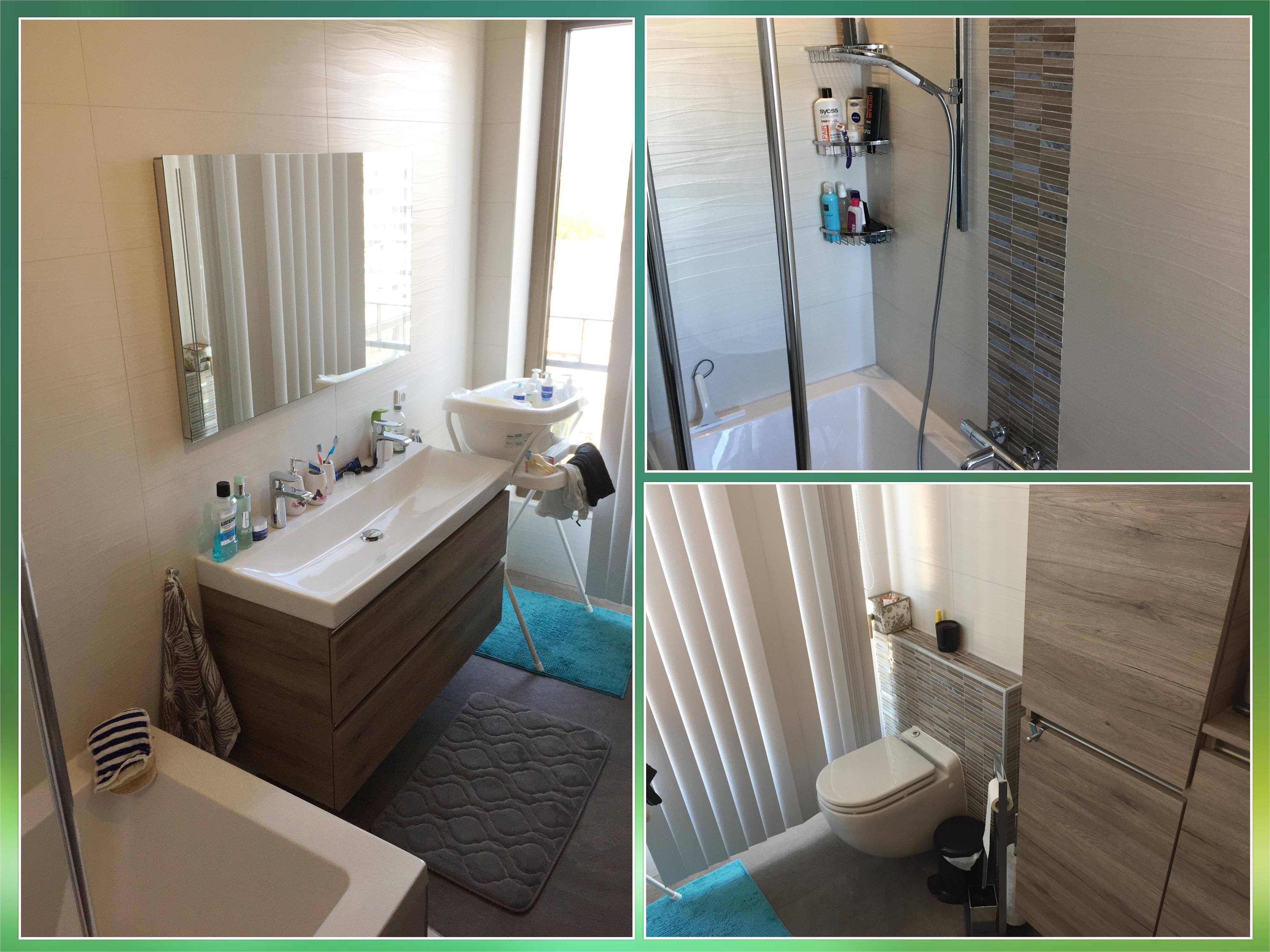 Grote Tegels Badkamer : Een rustige en stijlvolle #badkamer. grote tegels met een half glans