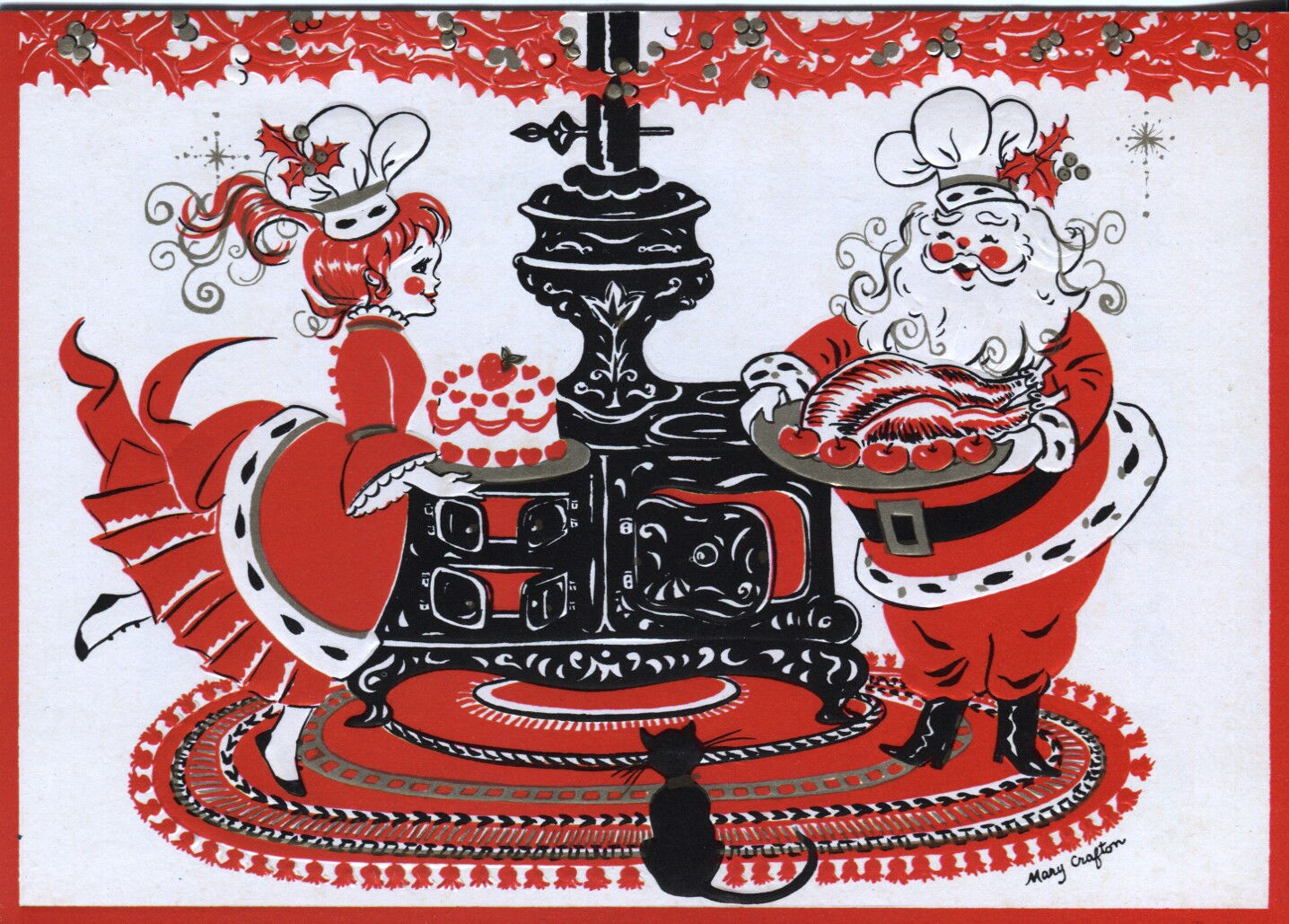 Vintage Famous Artists Christmas Card Mr Mrs Claus Cooking With