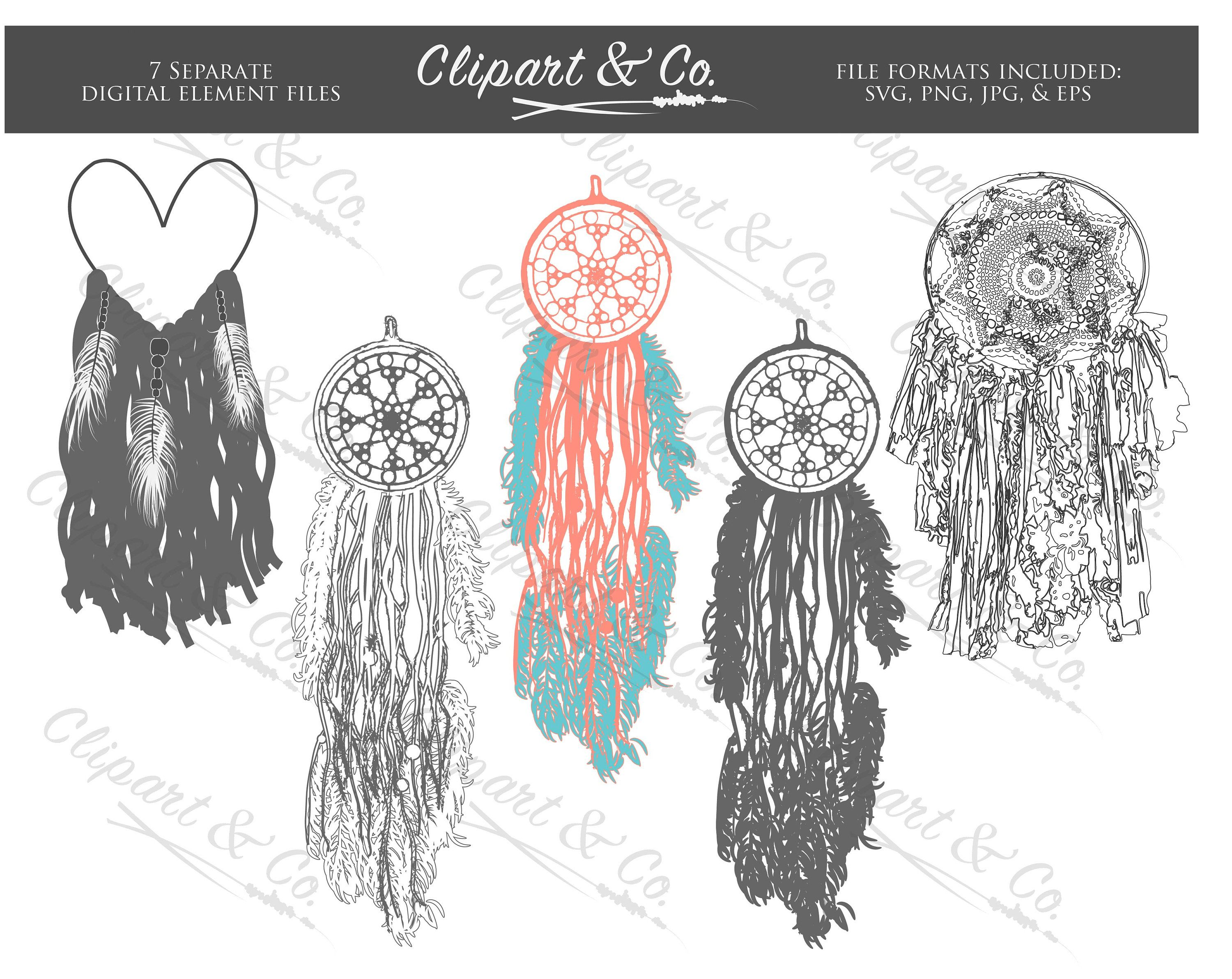 VINTAGE Dream Catchers Hand Drawn VECTOR Clipart Commercial Use 7 Images Svg Eps Jpeg Png Lace Feathers Modern Rustic Heart Wedding Invites