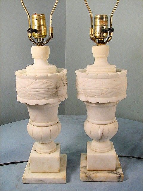 Vintage Pair Of Carved Alabaster Table Lamps Lights Ebay Table